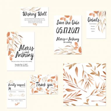 Template cards set with watercolor autumn tree branches