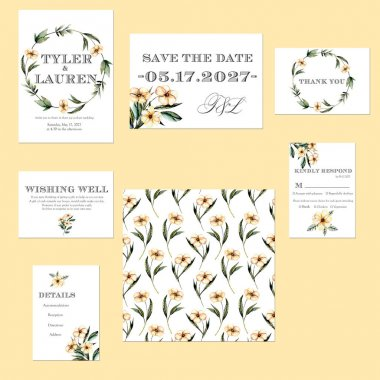 Template cards set with watercolor pink flowers illustrations