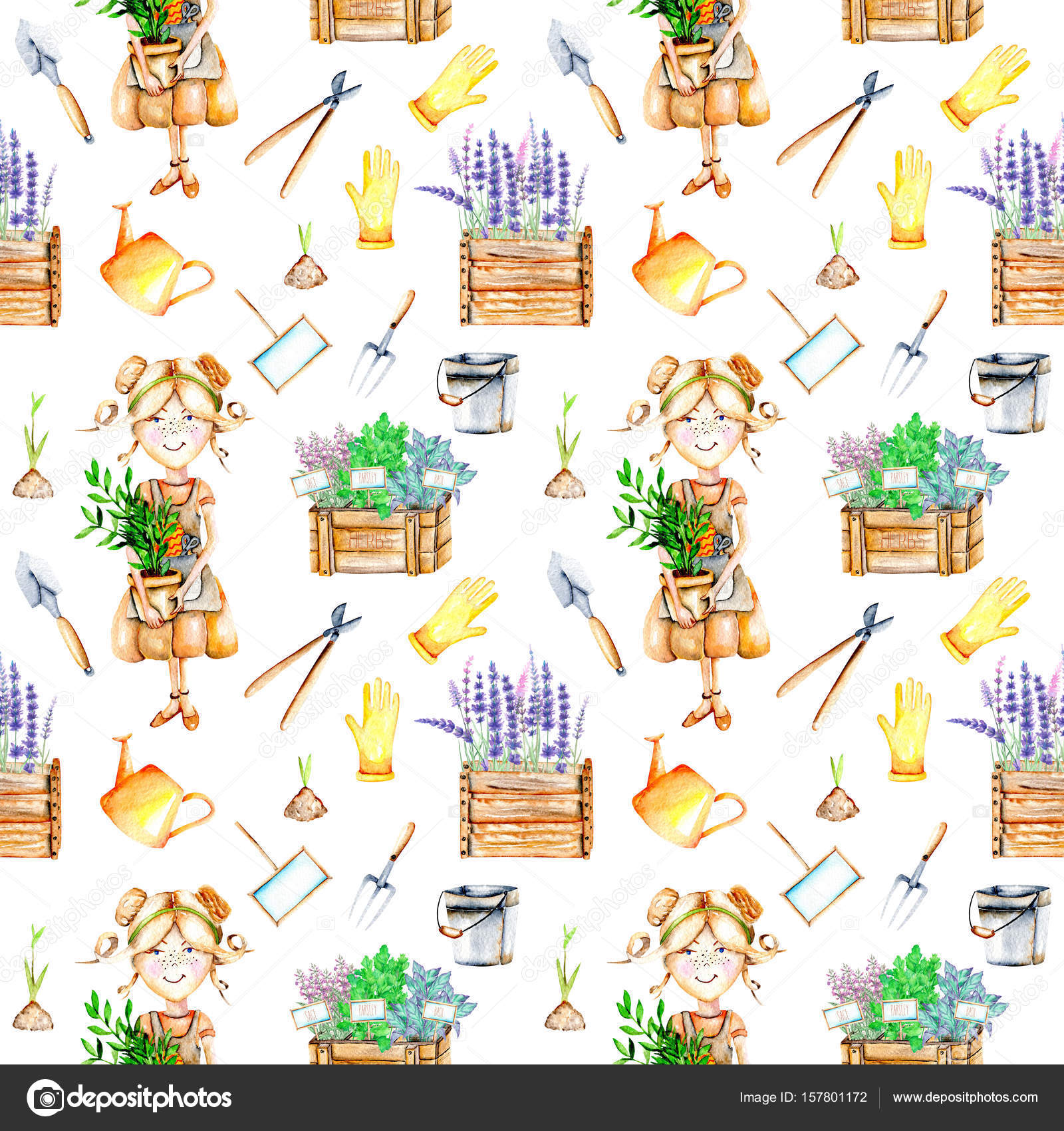 Seamless Pattern With Cute Gardener Girl And Garden Tools Illustrations U2014  Stock Photo