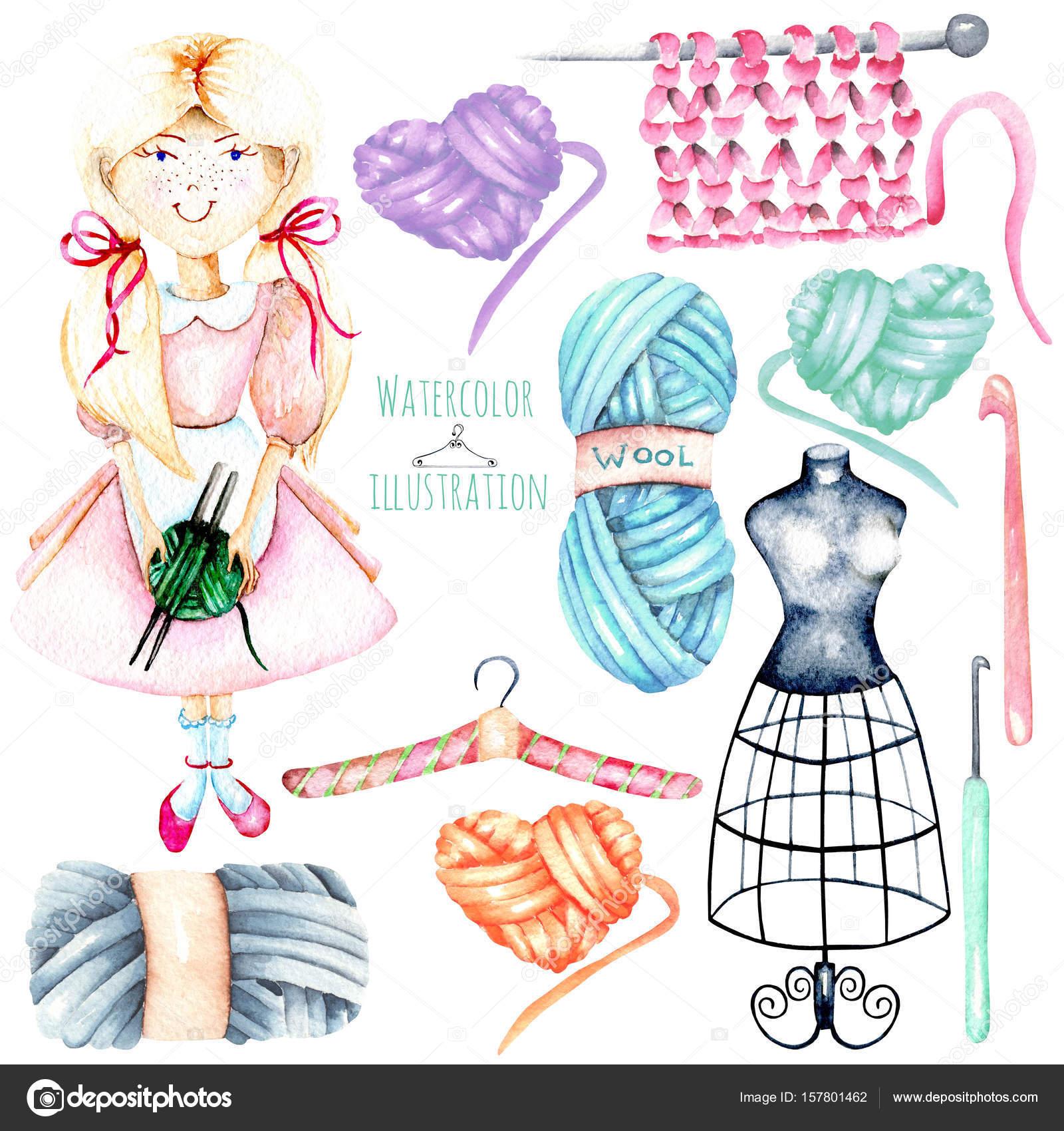 Conjunto de niña linda acuarela-costurera y tejer elementos: hilo ...