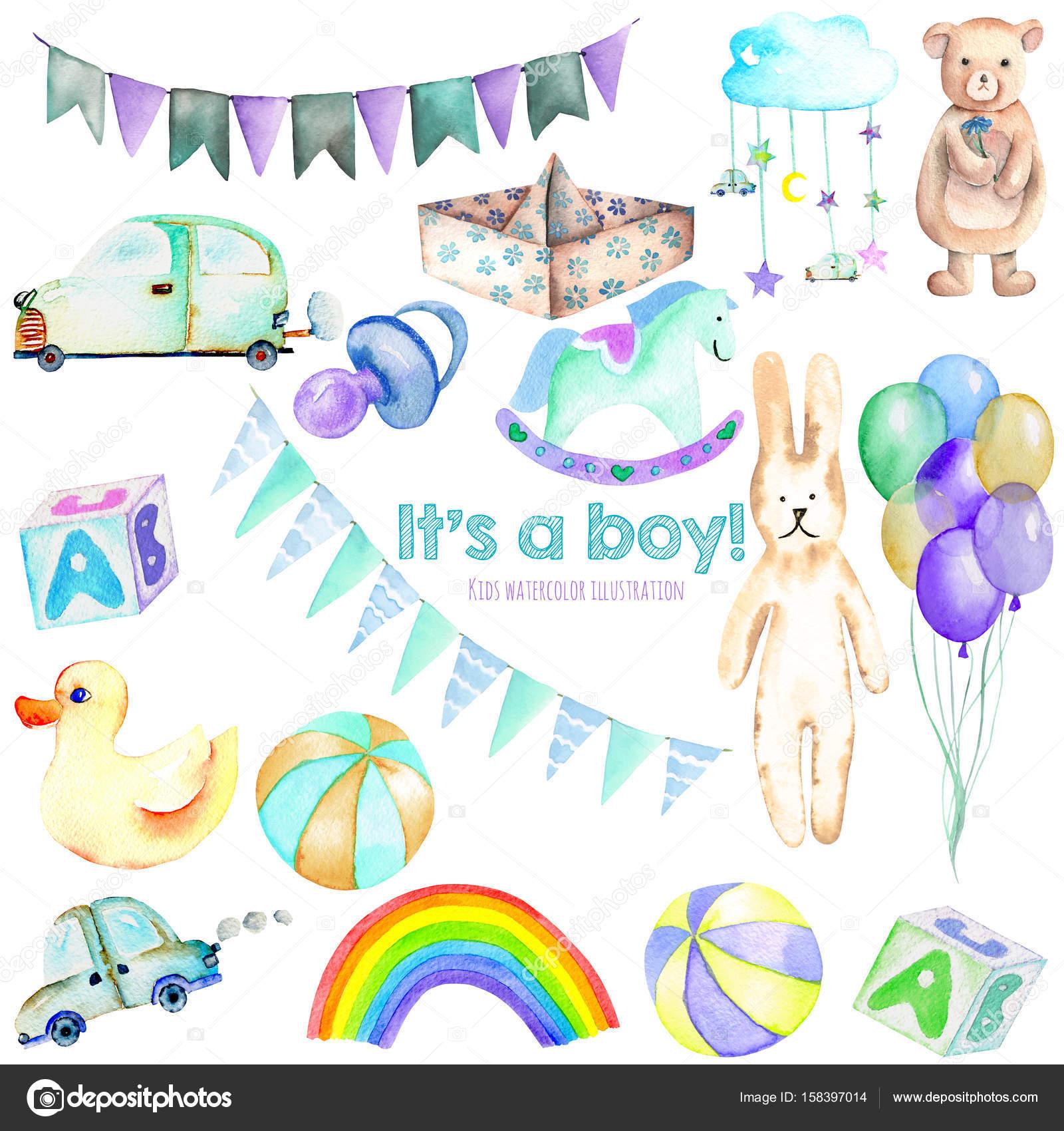 Elementos acuarela de Baby boy ducha conjunto (juguetes, coches ...