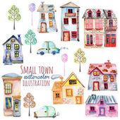 Sada roztomilých kreslených akvarel anglické domy, auta a stromy