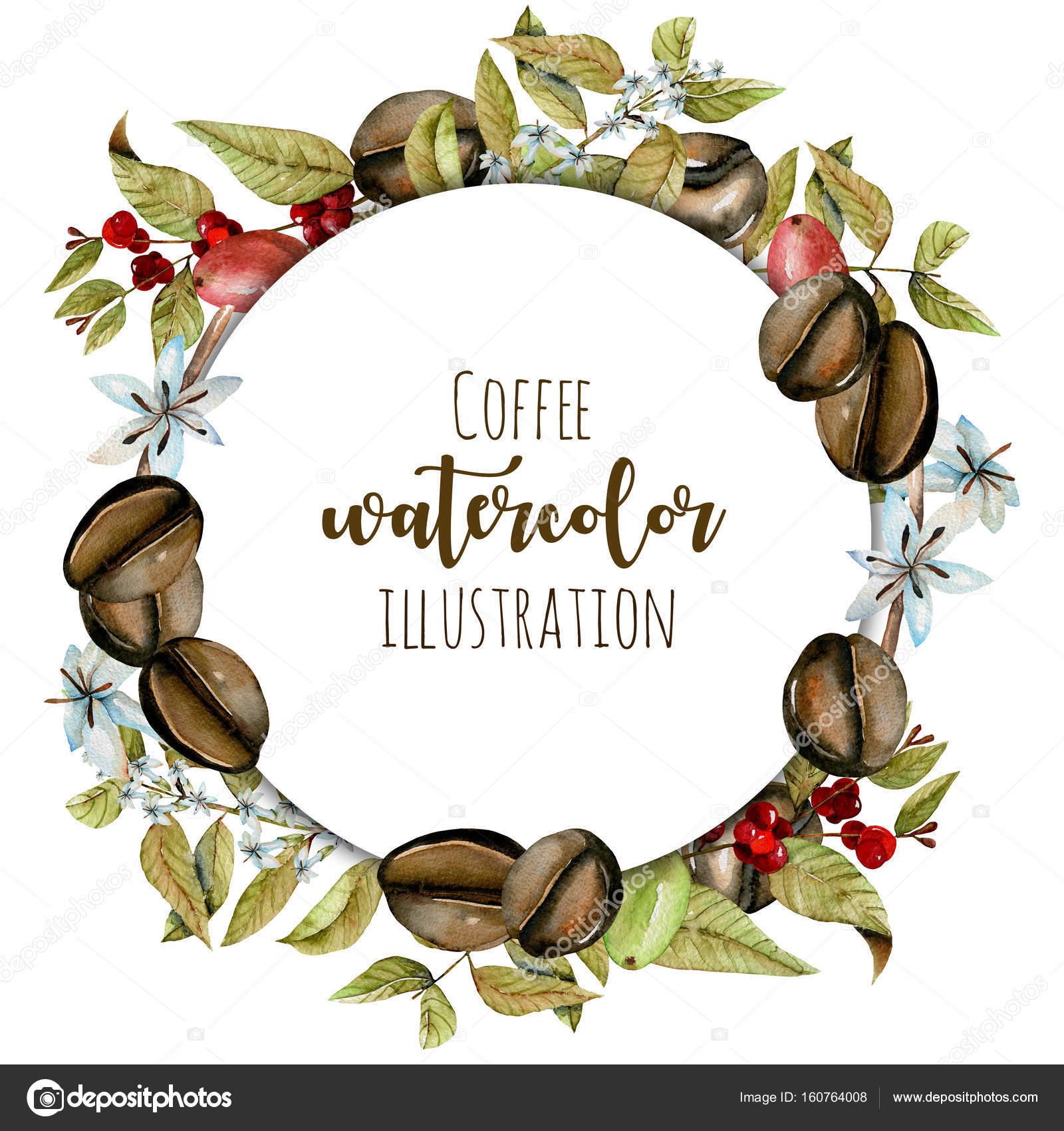 Corona, marco del círculo de ramas de café acuarela, flores y granos ...