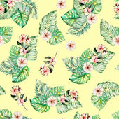 Seamless pattern with watercolor palm and monstera leaves, exotic pink flowers