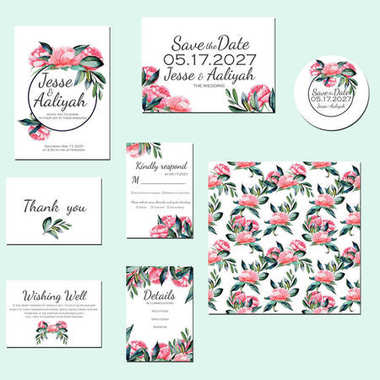 Template cards set with watercolor red peonies