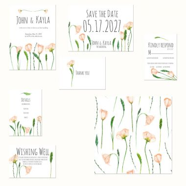 Template cards set with watercolor spring pink wildflowers