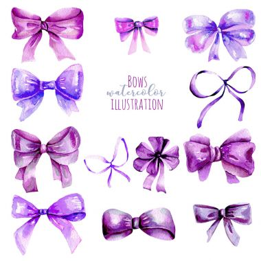 Set of watercolor purple bows, hand painted isolated on a white background stock vector