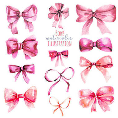 Set of watercolor pink bows, hand painted isolated on a white background stock vector