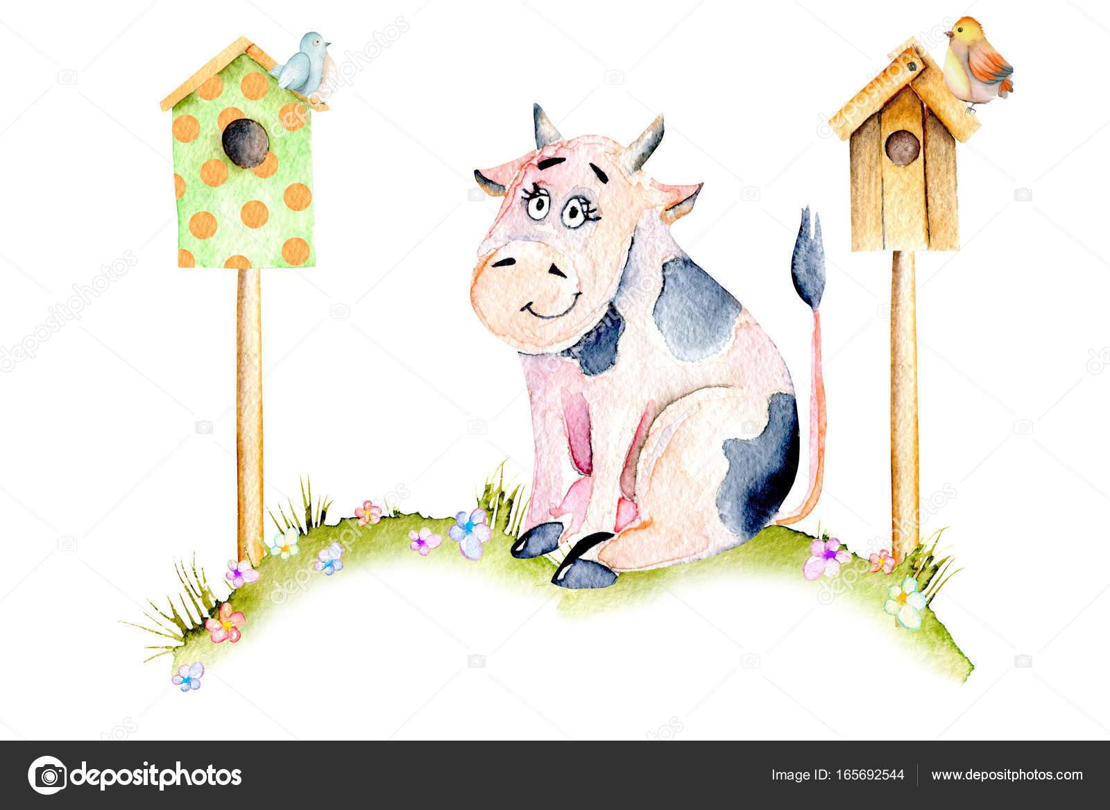 Акварель милый мультфильм корова, сидя на лугу вблизи дома ...