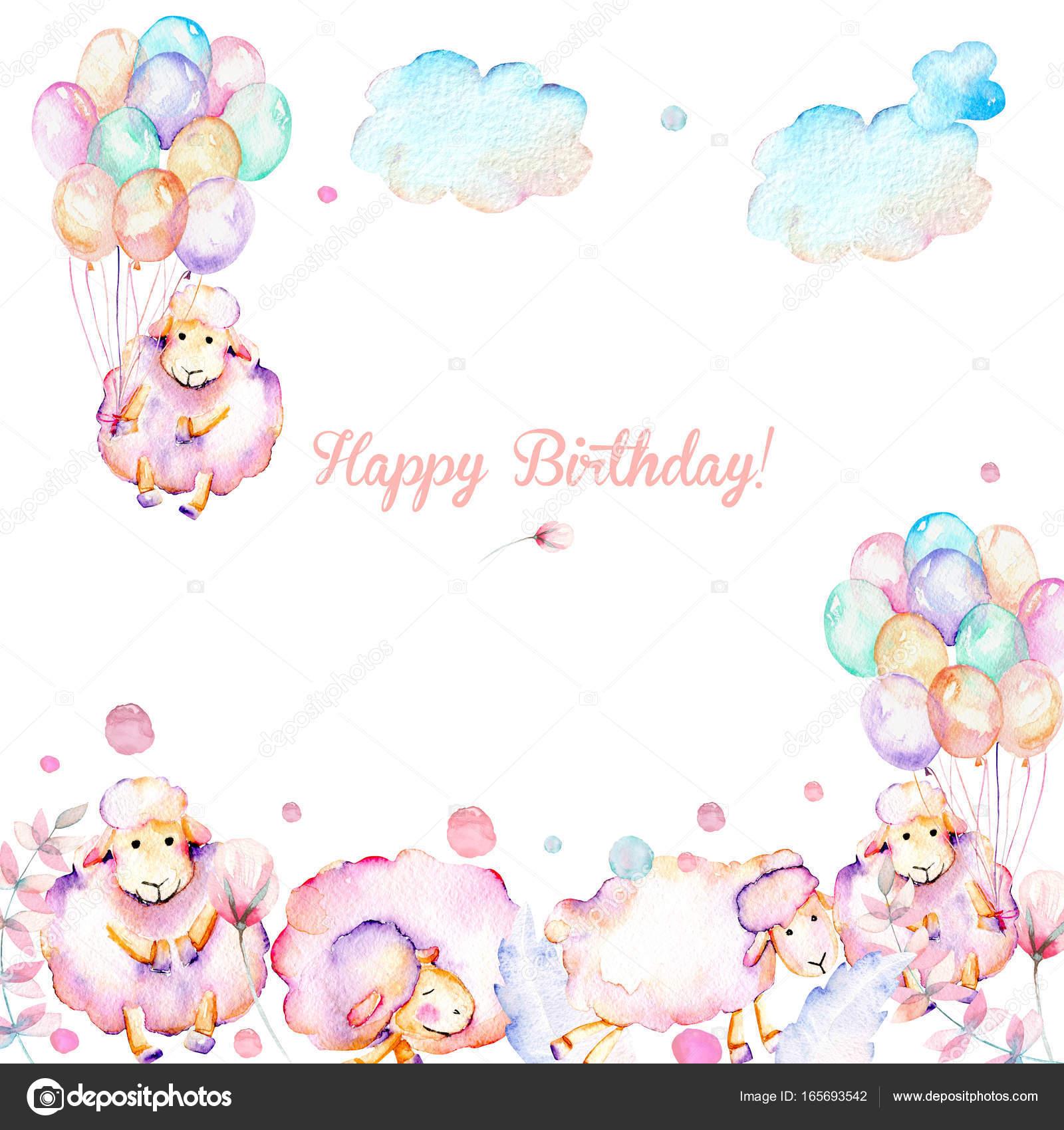 Tarjeta plantilla con ovejas rosa lindas acuarela, ilustraciones de ...