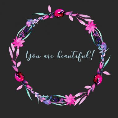 Wreath, circle frame with simple watercolor pink abstract flowers and branches, hand painted on a dark background stock vector