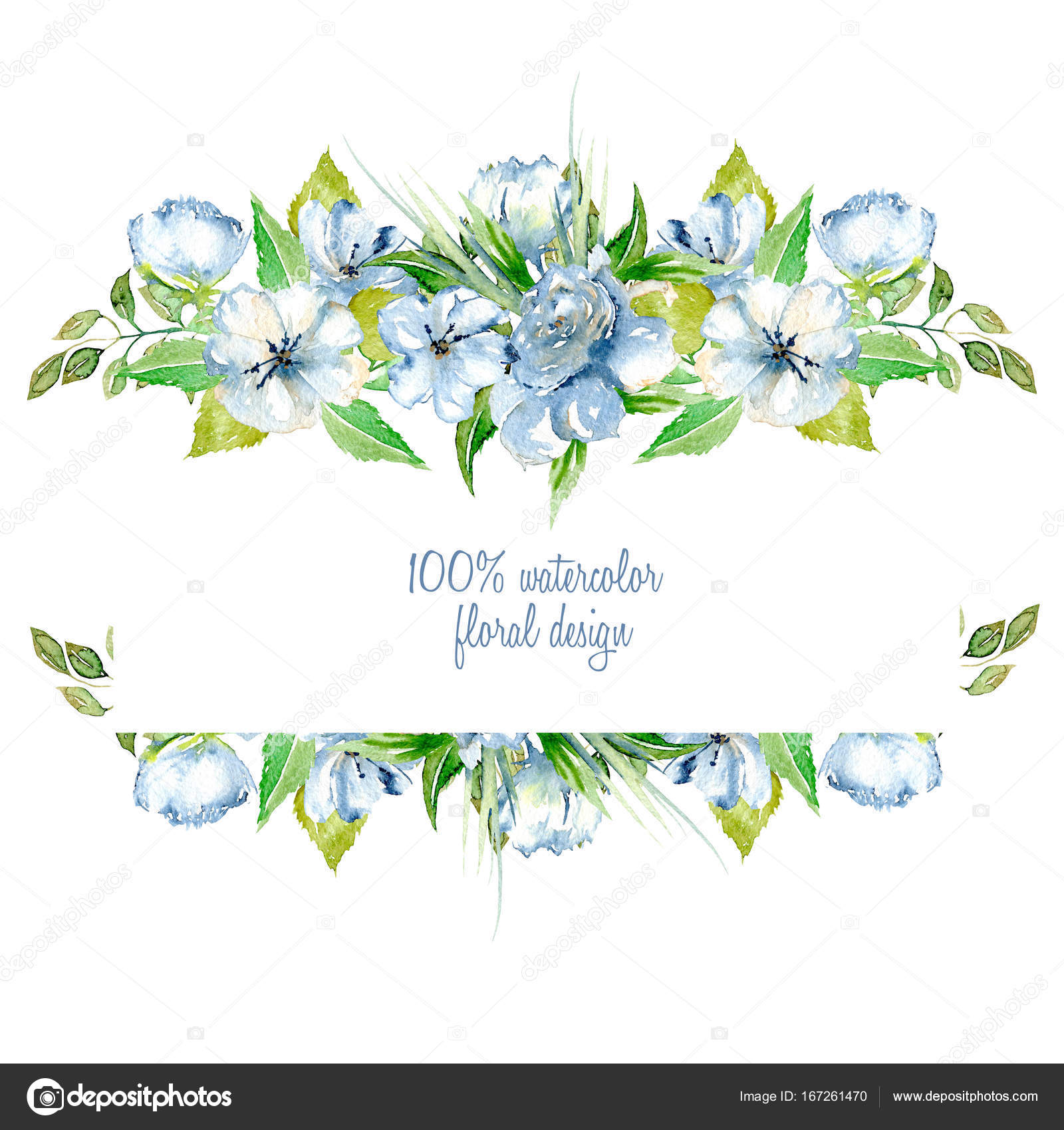 Frame Border With Simple Watercolor Blue Wildflowers And Green Fresh Leaves Hand Painted On A White Background Template Floral Design For Wedding Cards