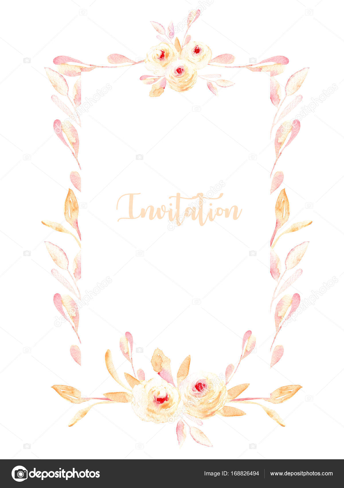 Rahmen mit Aquarell rosa Rosen und Zweige Minze — Stockfoto ...
