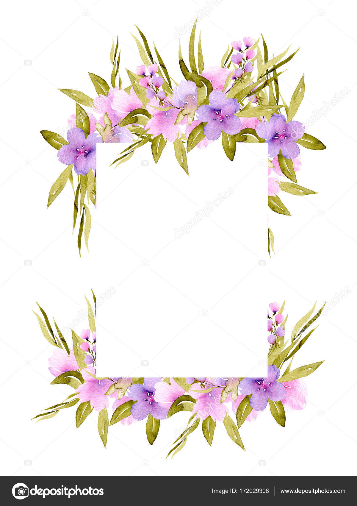 Frame Border With Pink And Purple Small Wildflowers And Green Plants