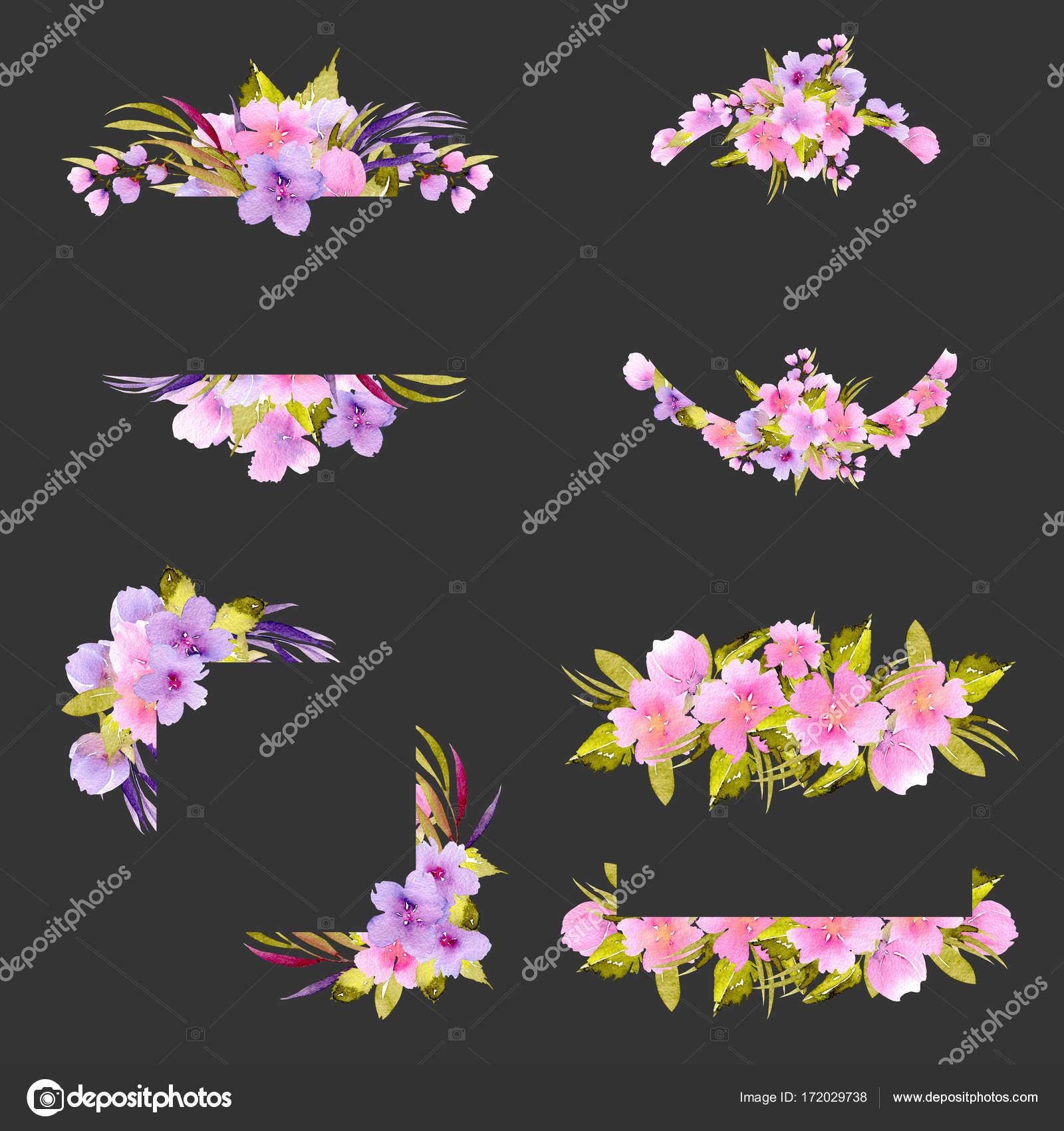 Conjunto de bordes de marco con flores pequeñas color rosas y ...