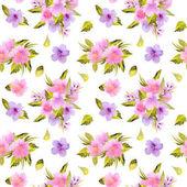 Akvarell, rózsaszín, lila virágok és zöld levelek csokrok zökkenőmentes minta