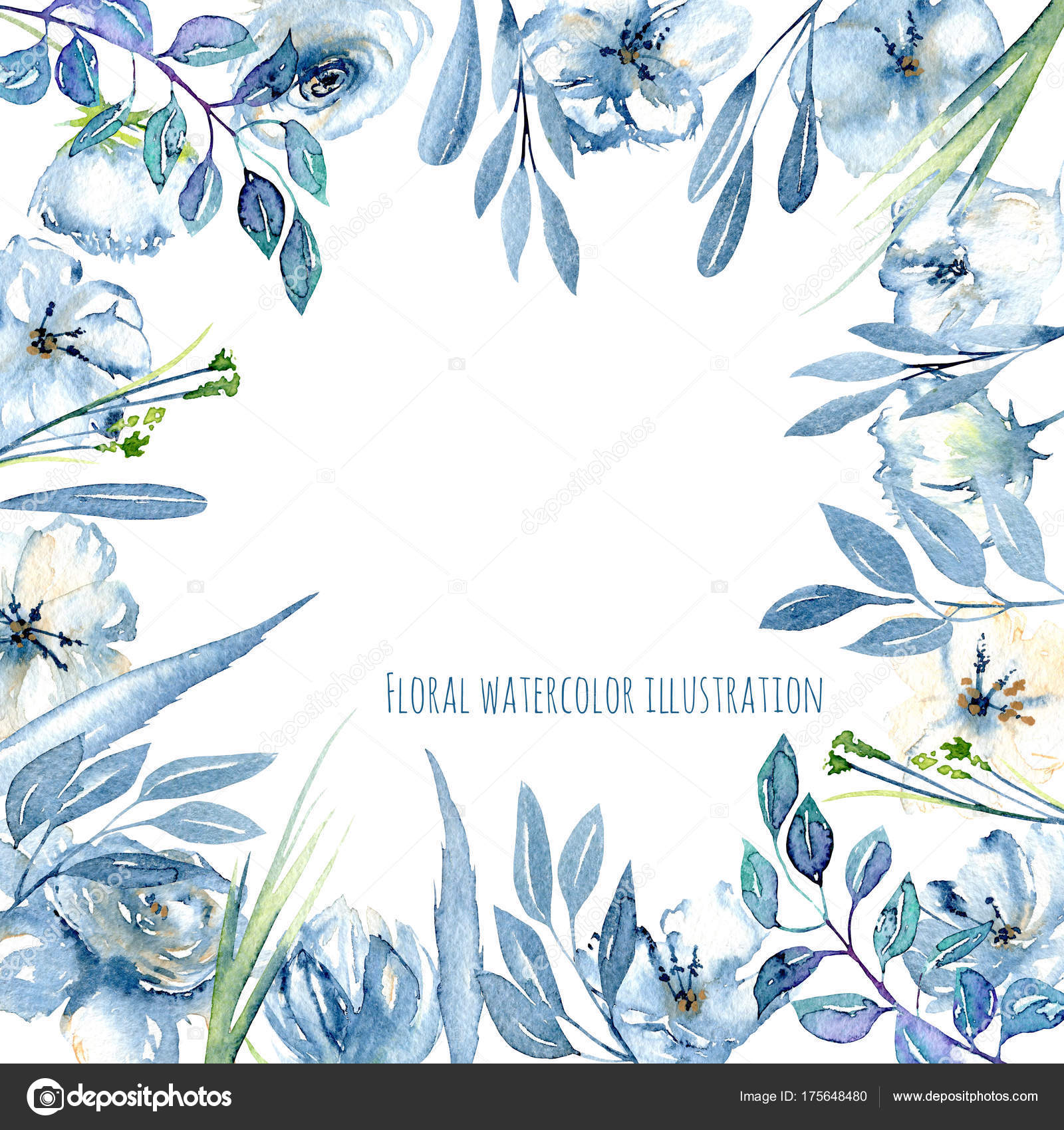 Frame Border With Simple Watercolor Blue Roses And Wildflowers Leaves Grass Hand Painted On A White Background Template Floral Design For Cards