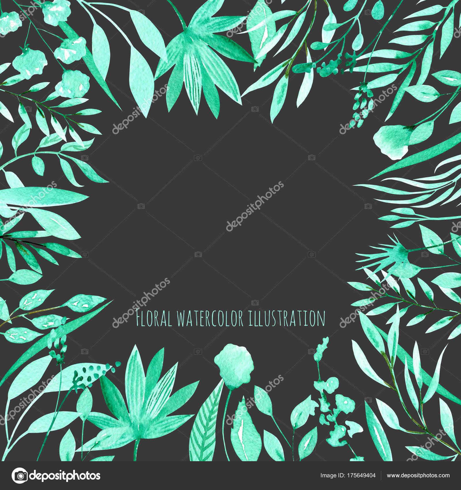 Floral Design Card Watercolor Mint Herbs Plants Hand Drawn Dark