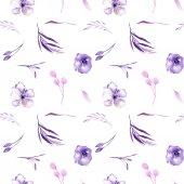 Akvarell lila rhododendron virágok és ágak varrat nélküli mintát, kézzel rajzolt egy fehér háttér, floral nyomtatási