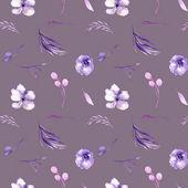 Akvarell lila rhododendron virágok és ágak varrat nélküli mintát, kézzel rajzolt egy lila háttér, floral nyomtatási