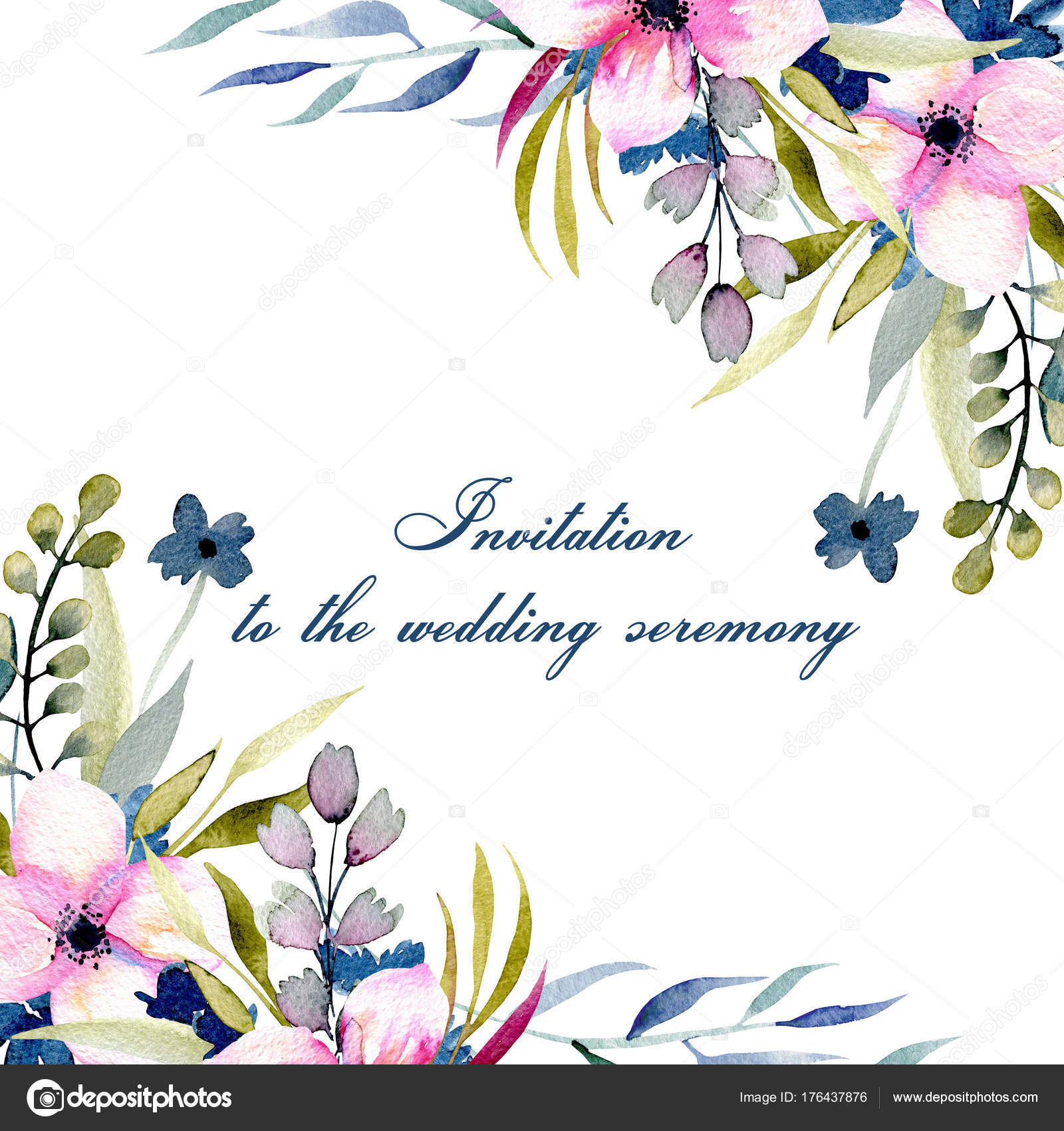 Greeting Card Template Watercolor Pink Blue Wildflowers Field ...