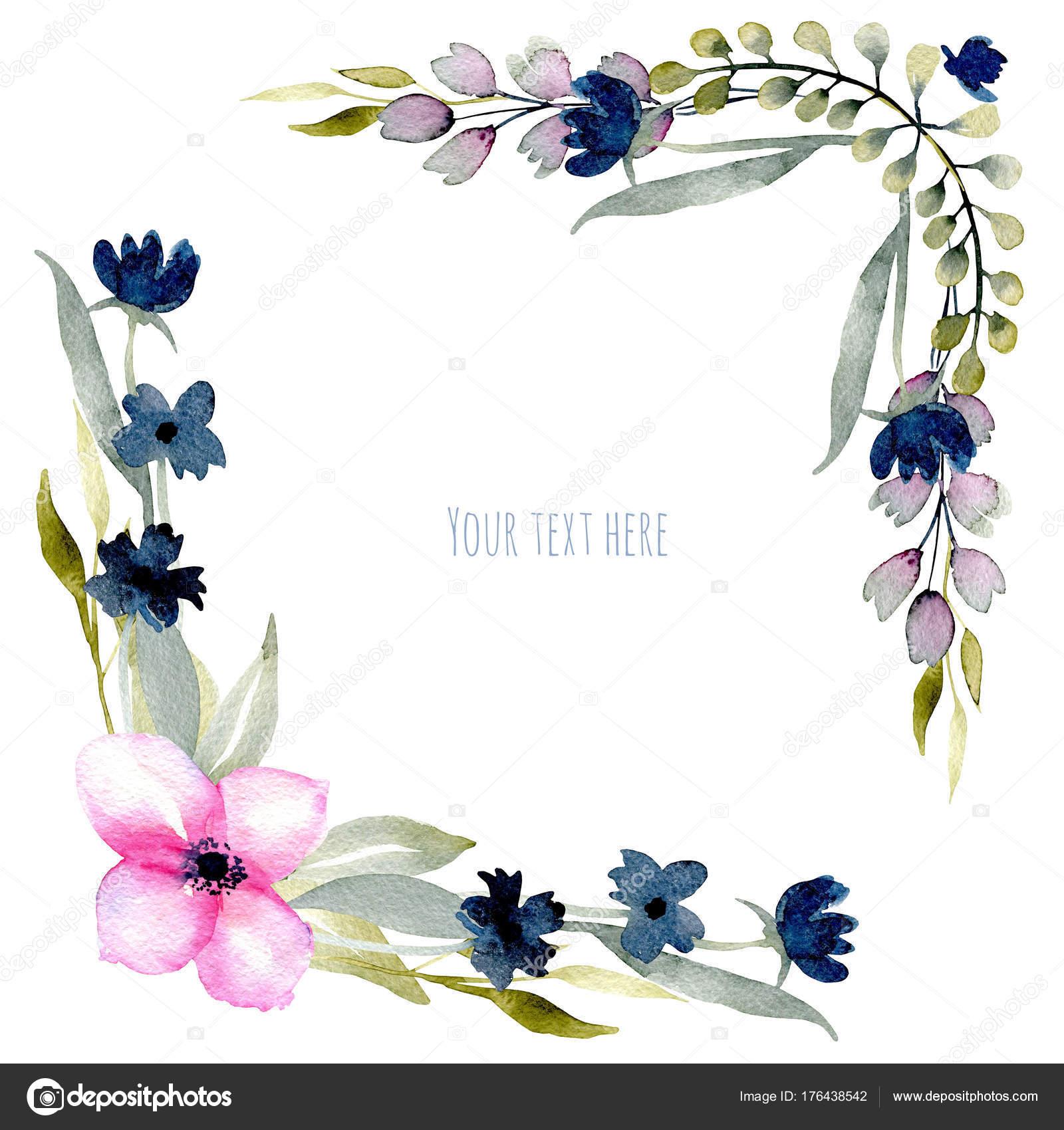Sulu Boya Pembe Mavi Kır çiçekleri Yeşil Dallar Sınırları Köşe