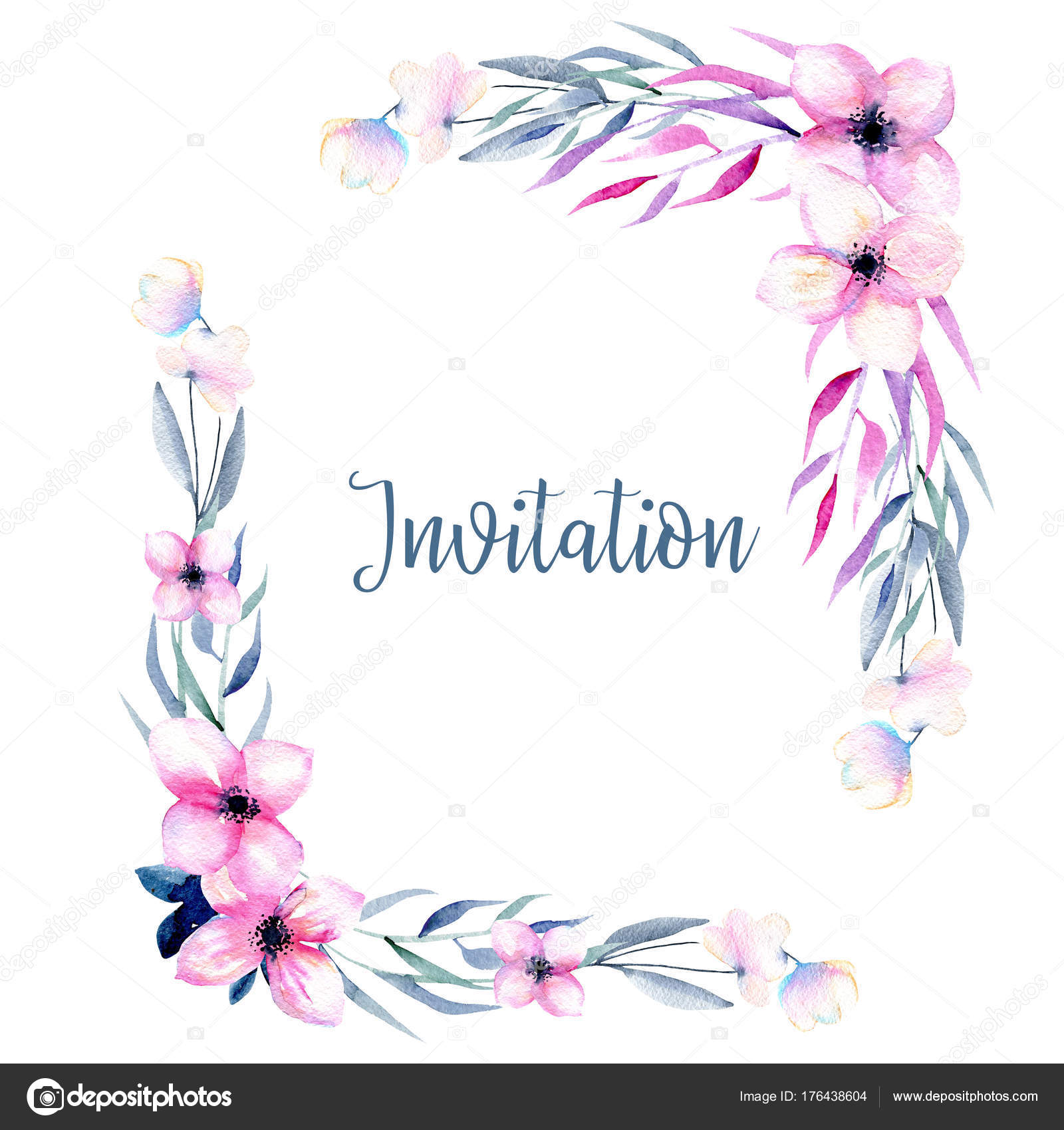 Watercolor Wildflowers Branches Corner Borders Pink Blue Shades Hand Drawn Stock Photo
