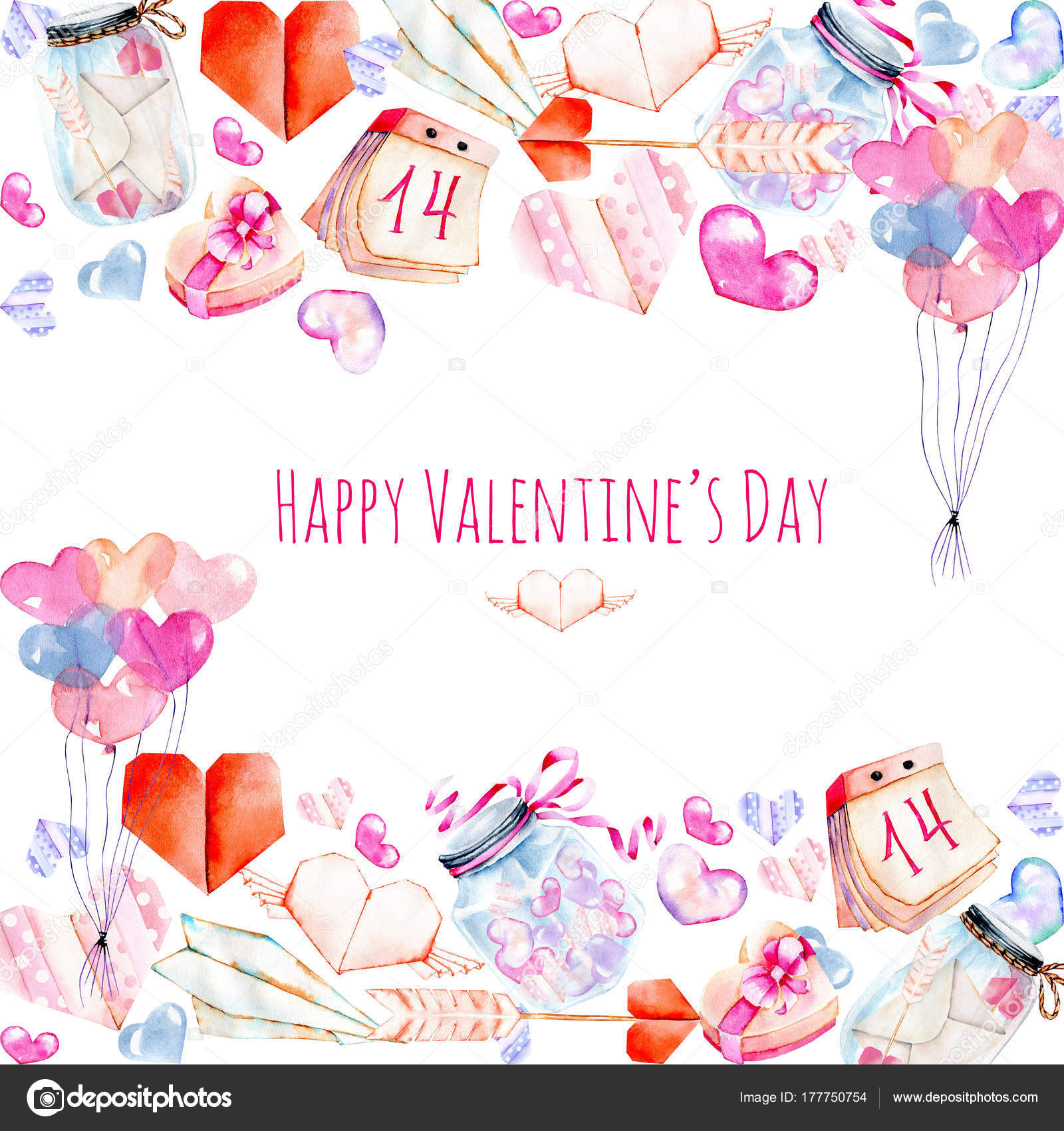Watercolor Valentine Day Elements Greeting Card Hearts Origami Arrow
