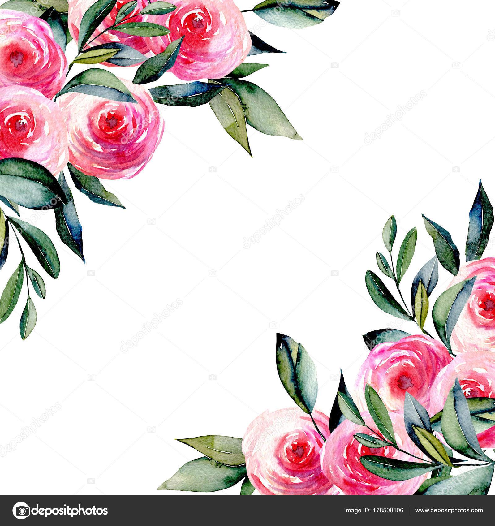 Rosas Rojas Para Dibujar Bonitas Plantilla Tarjeta Con Acuarela