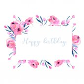 Watercolor pink poppies and floral branches frame border, hand drawn on a white background, birthday and other greeting cards