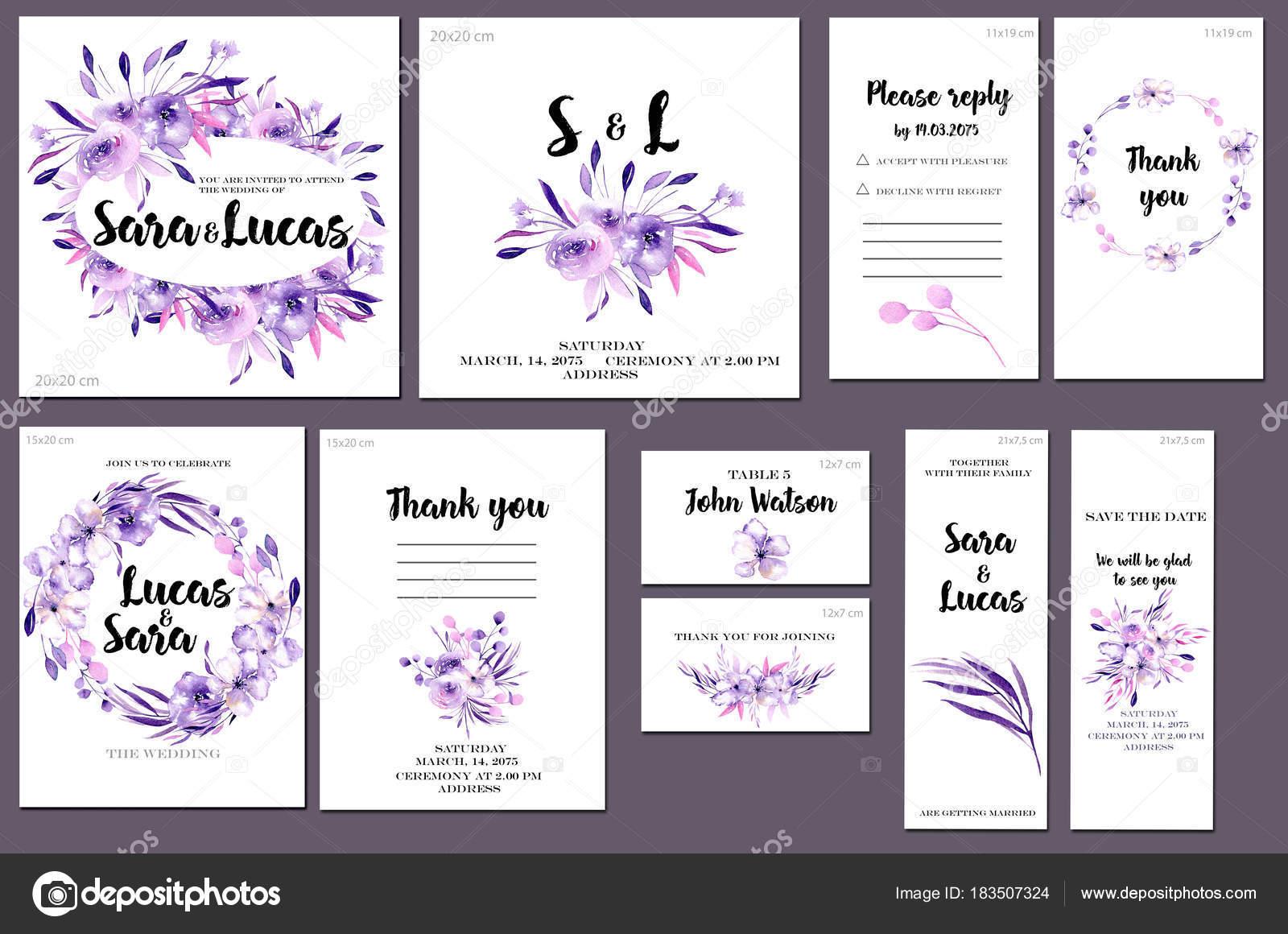 Kartenvorlagen Set Mit Lila Aquarell Blumen Und Pflanzen Hintergrund ...