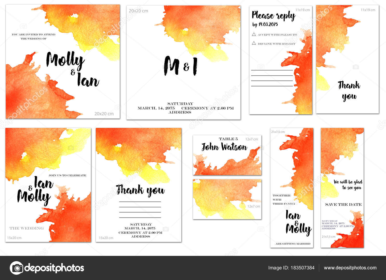 card templates set red yellow watercolor splashes background