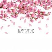 Akvarel na jaře Kvetoucí třešeň větve pozadí, karta šablony, ručně malované na bílém pozadí