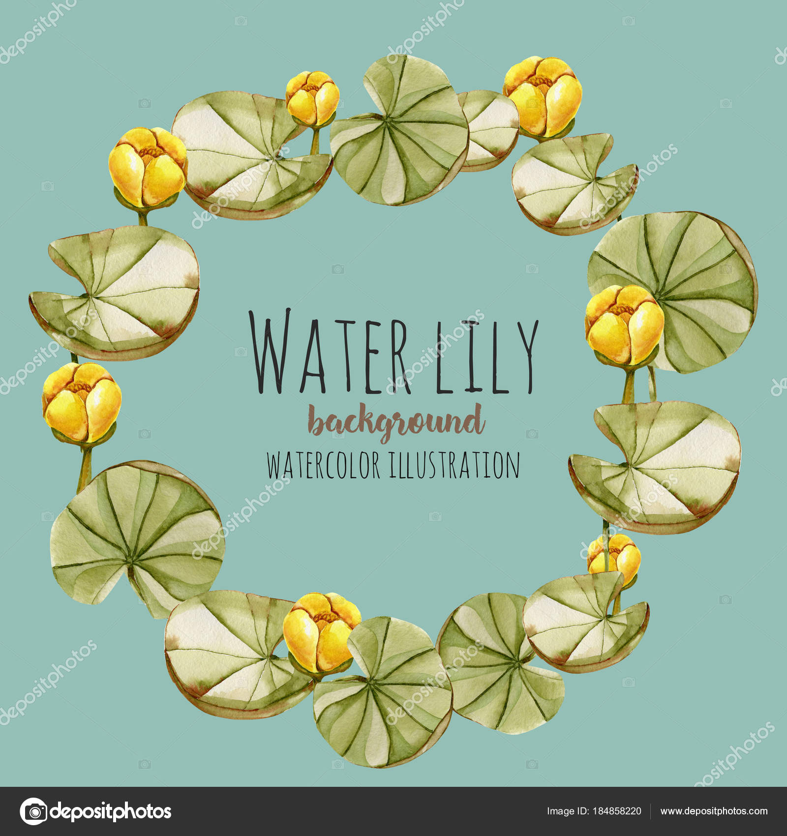 Watercolor Yellow Water Lily Wreath Greeting Card Template Hand ...