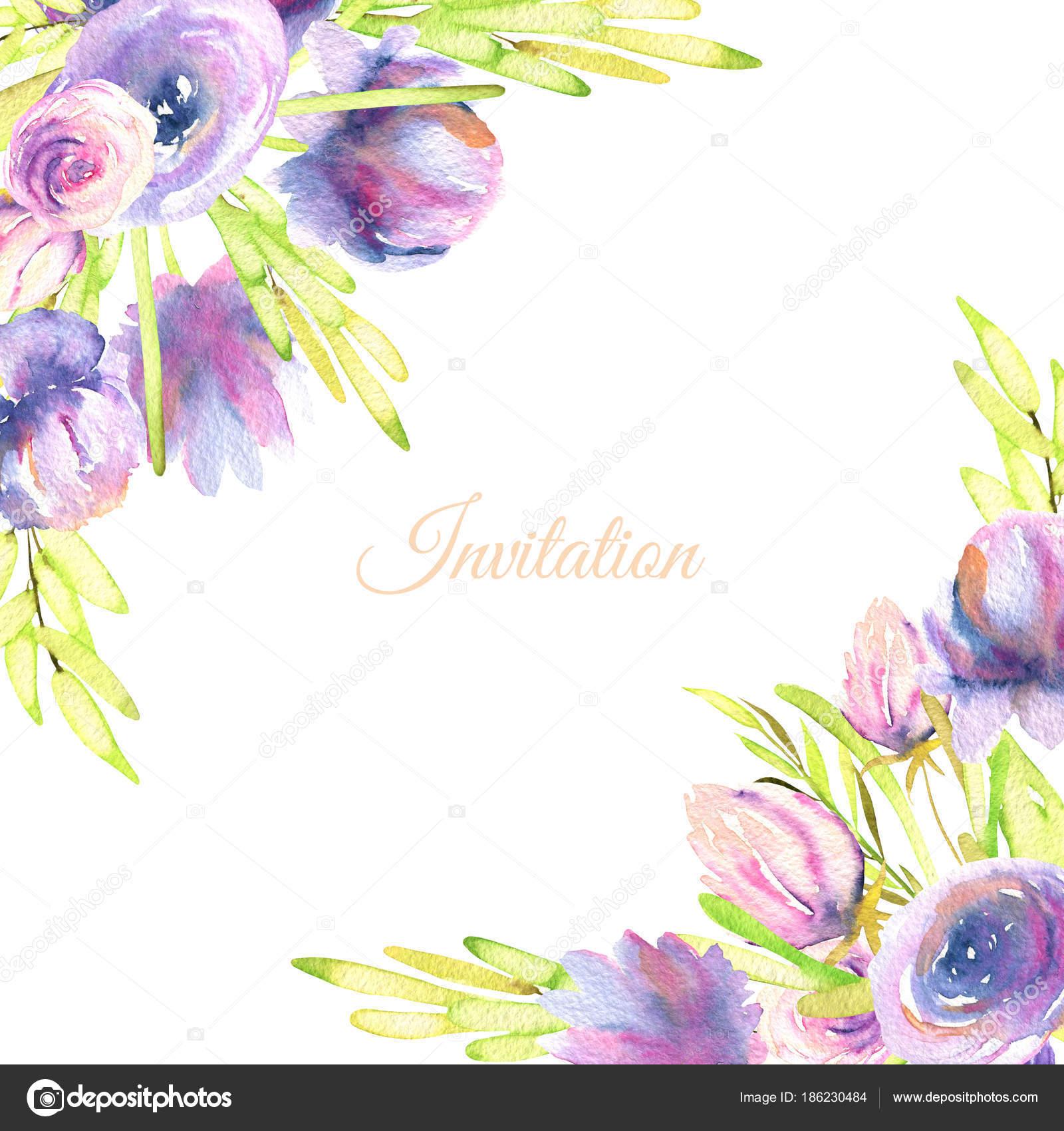 Watercolor Purple Peonies Roses Card Template Wedding