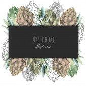 Frame with watercolor and graphic artichoke, hand drawn illustration on a white and dark background, logo etc design