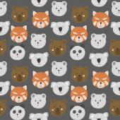 Fotografie nahtloses Muster mit niedlichen Bärengesichtern (Bär, Eisbär, Panda, roter Panda, Koala), handgezeichnet isoliert auf dunkelgrauem Hintergrund