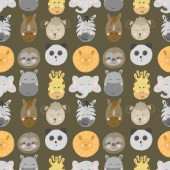 Seamless pattern with african and american animal faces (lion, zebra, sloth, giraffe etc), hand drawn isolated on a brown background