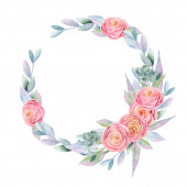 Wreath of watercolor pink beautiful roses, green leaves, berries and branches, hand painted on white background, for wedding and other festive decorations