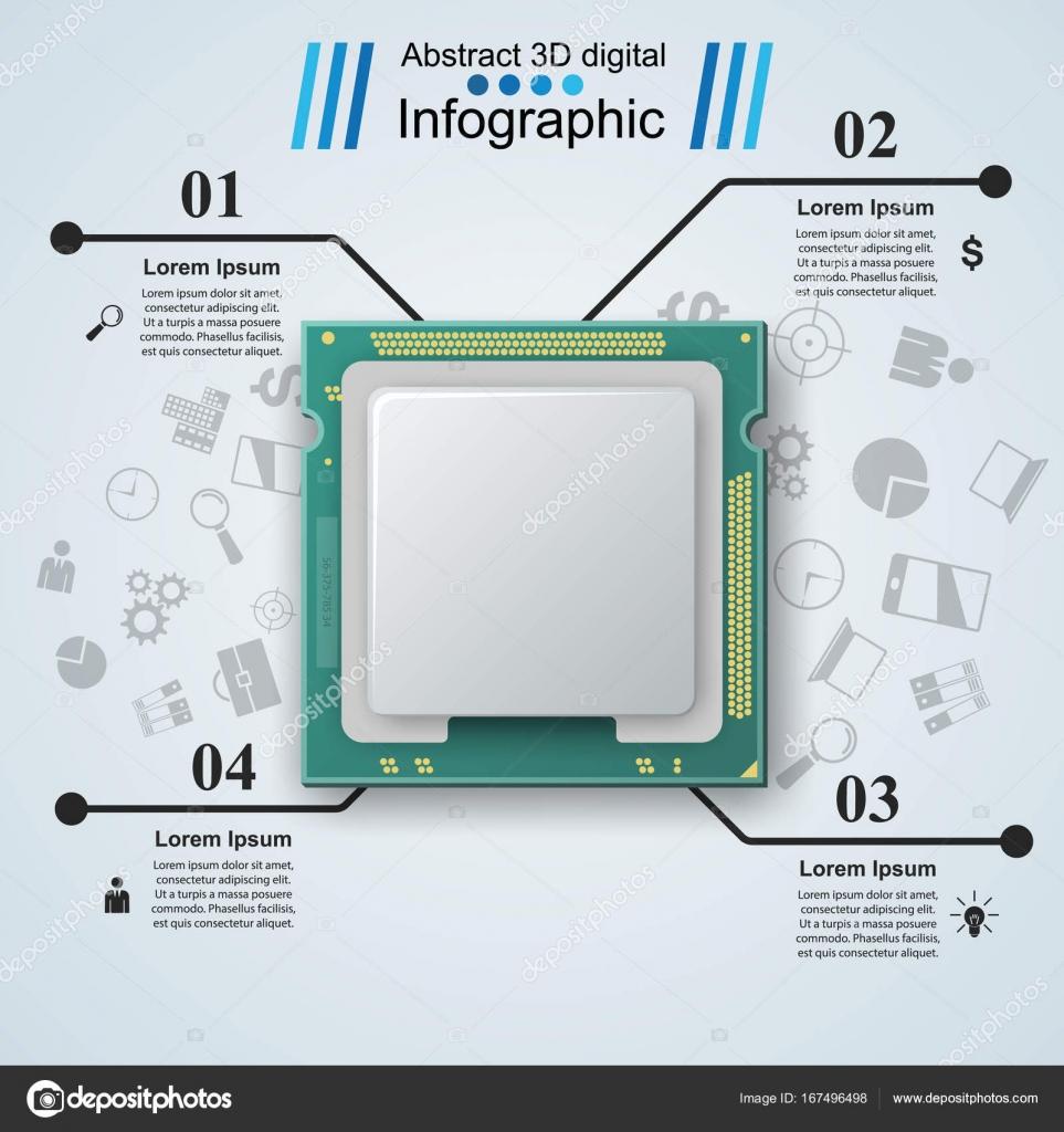 Mikroprozessor, Chip, elektronische Bauteile-Symbol — Stockvektor ...