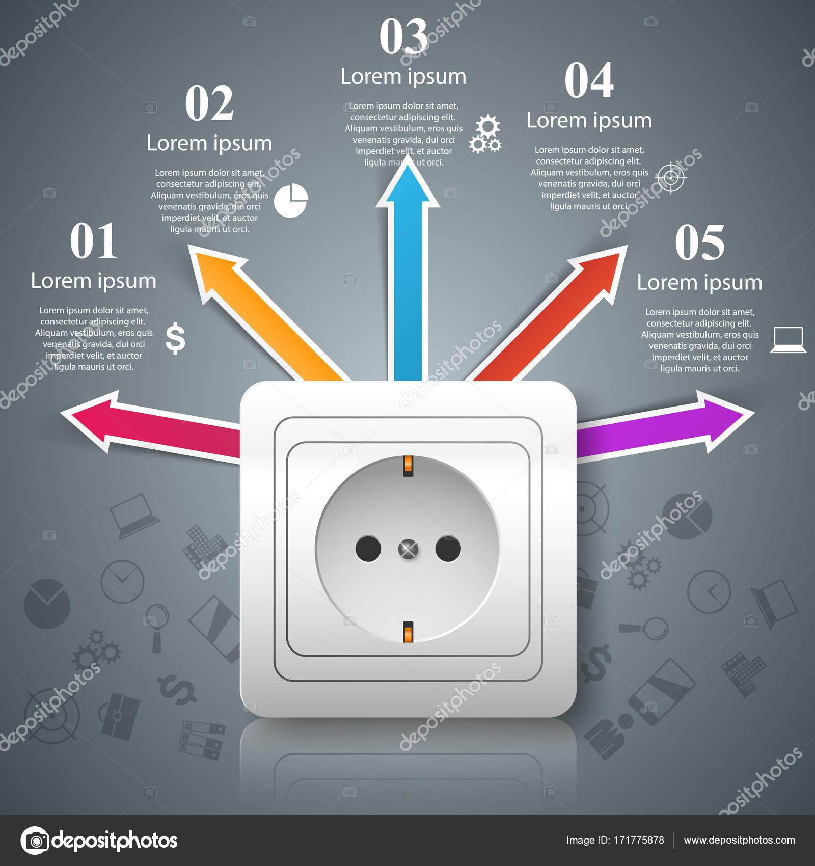 Electric outlet icon. Abstract business infographic. — Stock Vector ...