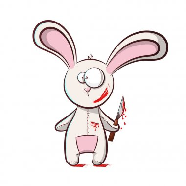 Bad rabbit - horror illustration.