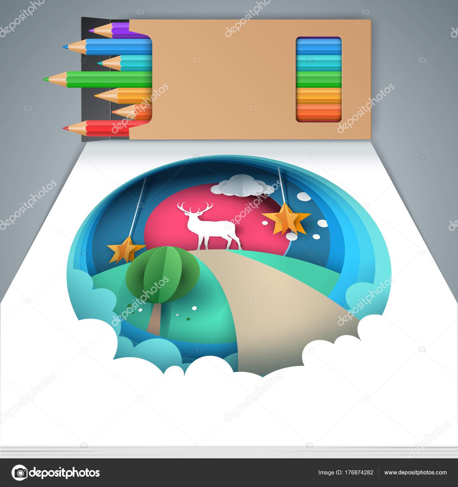 Cuadro pintado con lápices de colores. Ciervos, estrella, sol, nube ...