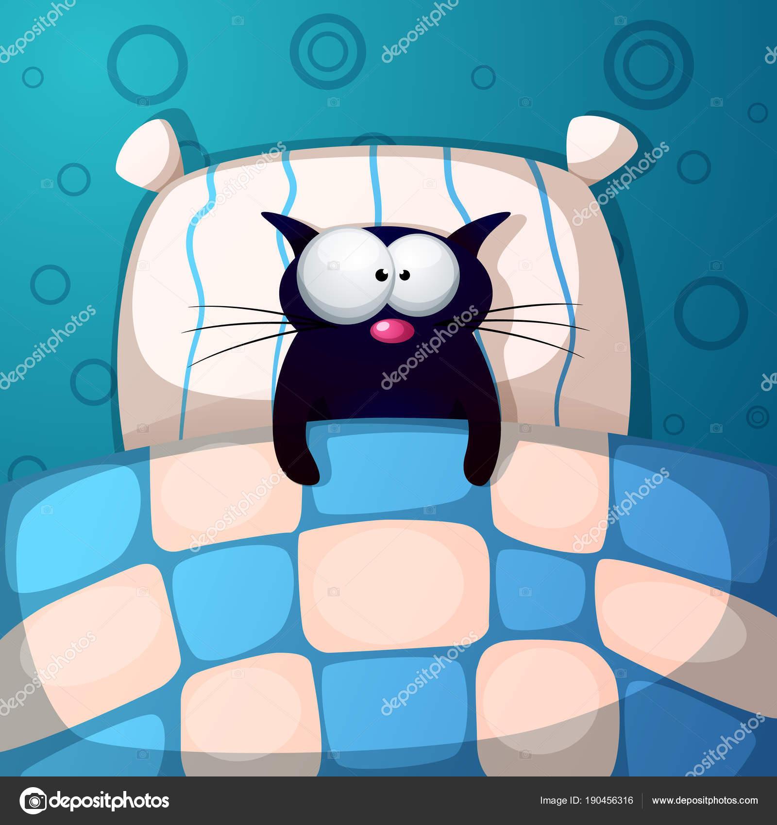 Comic Katze Schlafen Abbildung Zimmer Bett Kissen Stockvektor