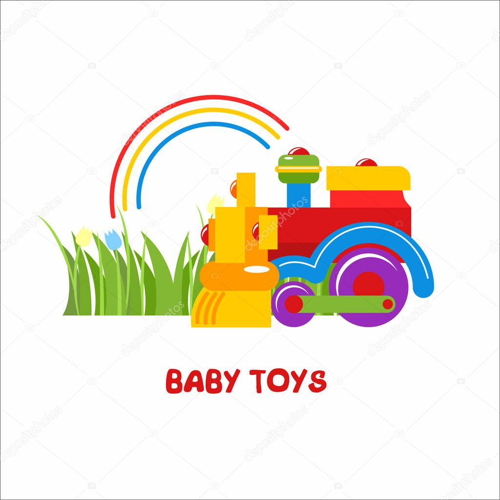 Toys Kids Vector Sign The Logo For The Toy Store Kids Colorful