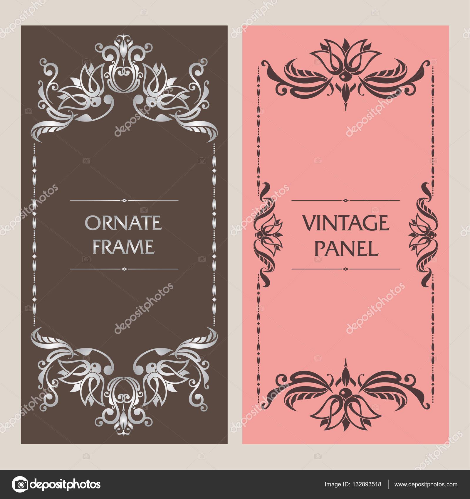 Reich verzierte Vintage Karten. Schablone Rahmen für Grußkarte ...