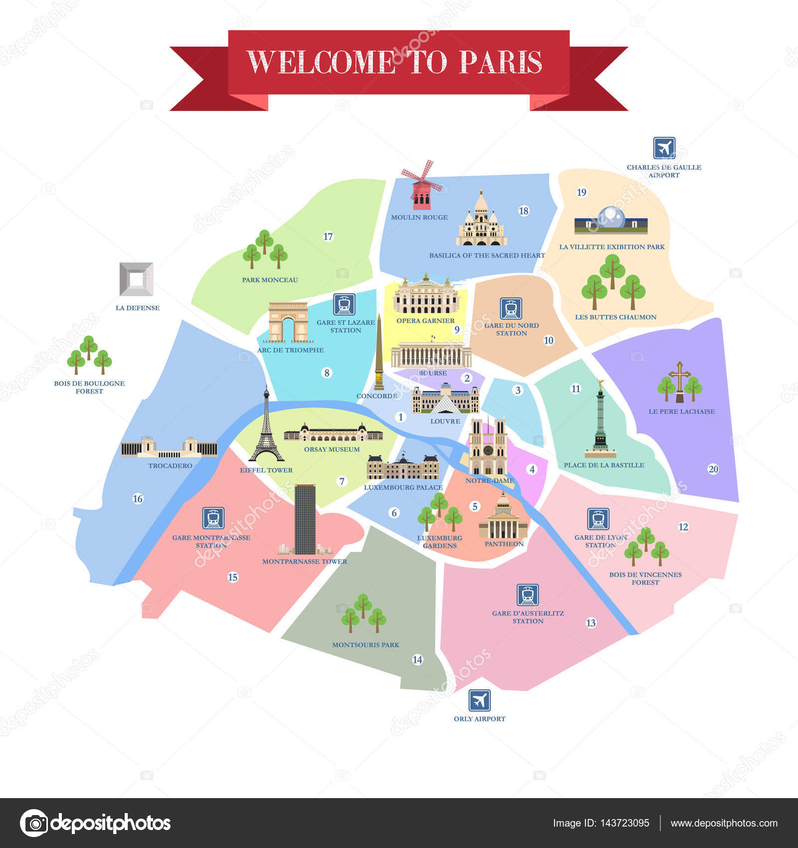 detailed map of paris attractions stock vector