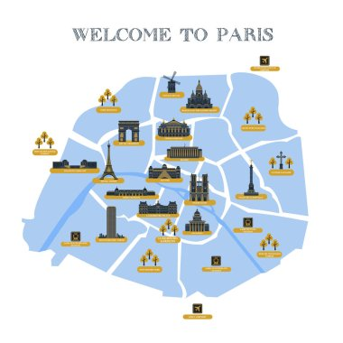 Detailed vector map of the city of Paris with pictograms attractions. The famous palaces, cathedrals, parks, museums, monuments.