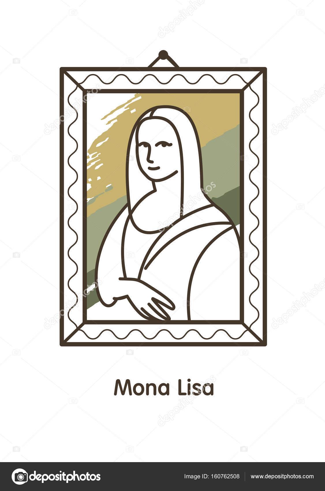 La famosa pintura de Leonardo da Vinci. Ilustración de vector. Icono ...