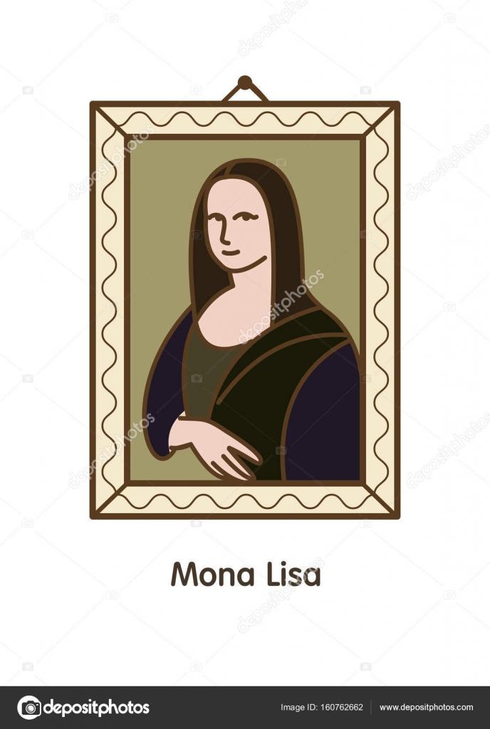Ilustración de vector de la pintura del gran Leonardo. Mona Lisa ...